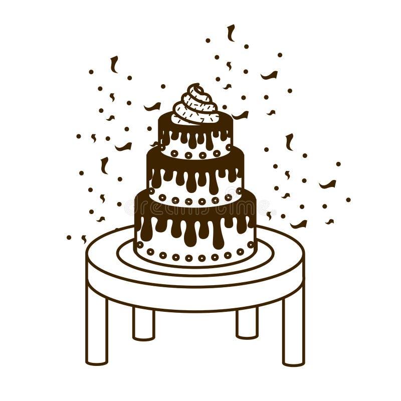 蛋糕剪影在生日快乐木桌上的  库存例证