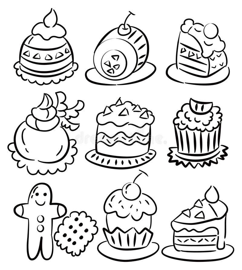 蛋糕动画片凹道现有量图标 向量例证