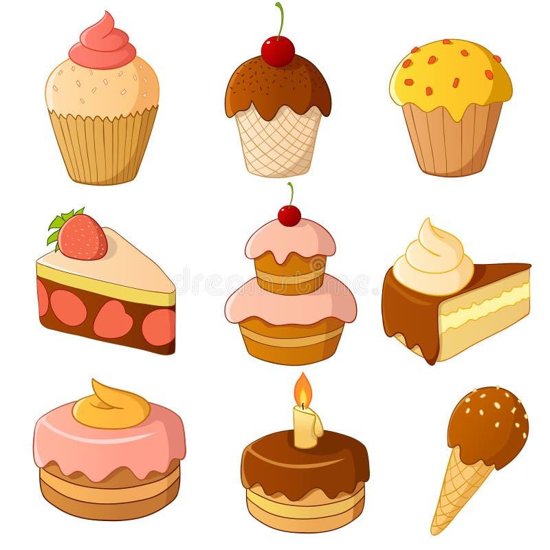 蛋糕动画片查出的集合白色 向量例证