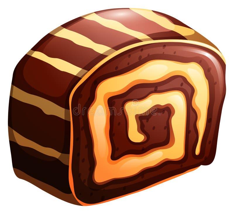 蛋糕卷巧克力和香草味道 向量例证