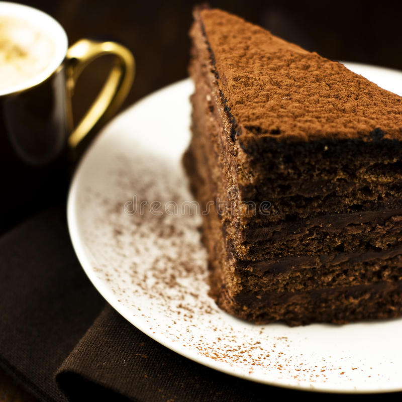 蛋糕可可粉咖啡 库存照片