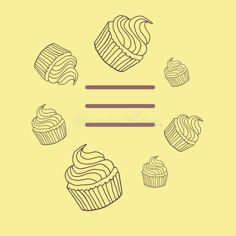 蛋糕和杯形蛋糕在一个平的设计, 库存照片