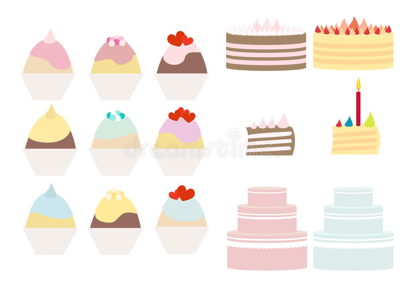 蛋糕和杯形蛋糕查出收集 库存例证