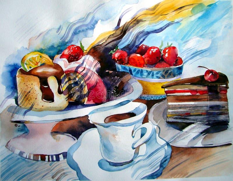 蛋糕和蛋糕在板材、草莓和柠檬,一杯茶的 免版税库存图片