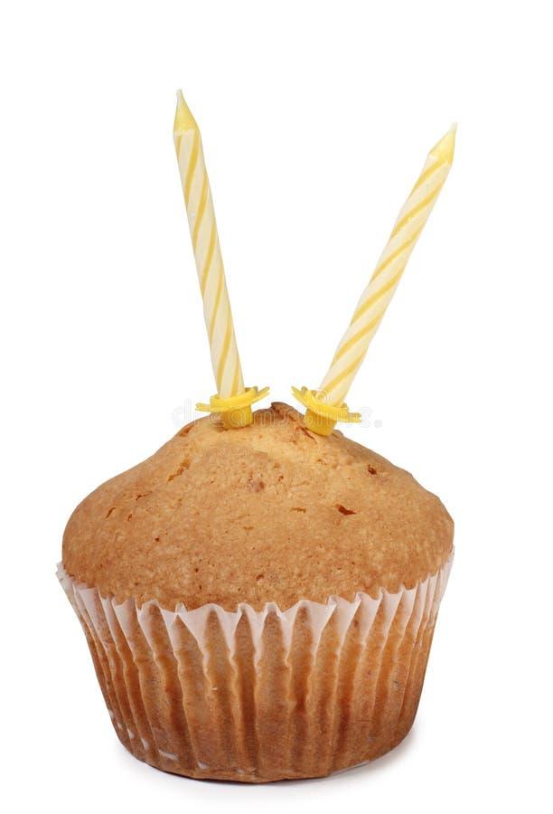 蛋糕和蜡烛两 库存图片
