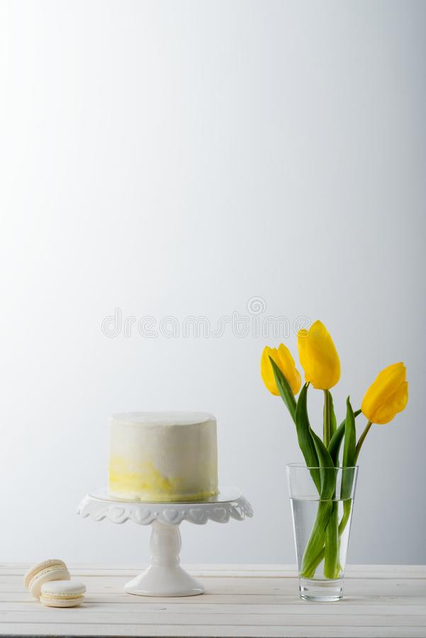 蛋糕和通心面甜点 库存图片
