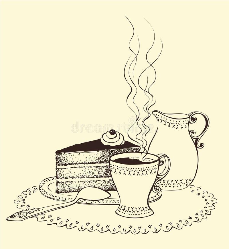 蛋糕咖啡杯水罐牛奶 皇族释放例证