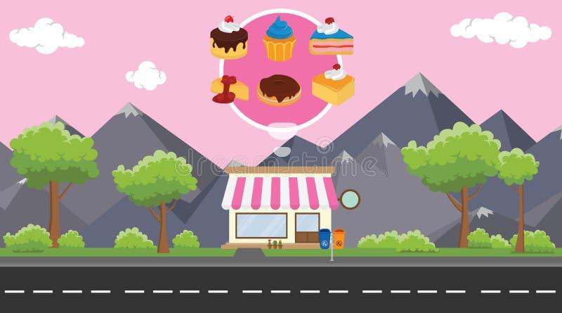 蛋糕商店事务在街道旁边有作为背景的山景图片