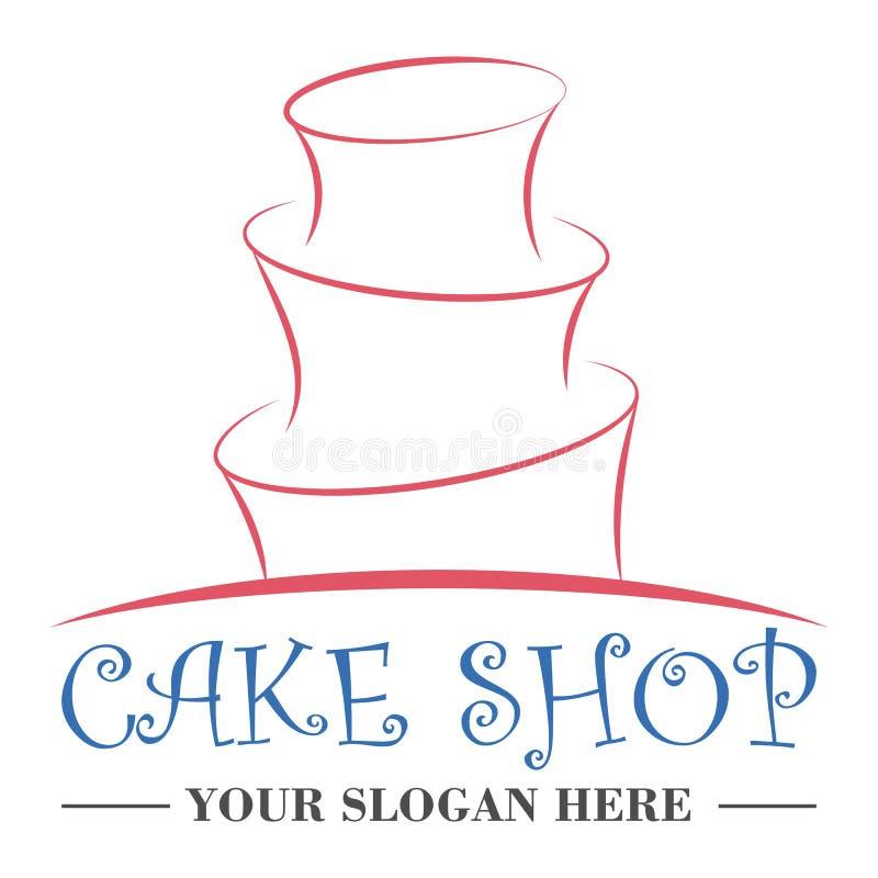 蛋糕商店商标设计模板 向量例证