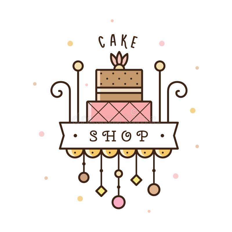 蛋糕商店商标 也corel凹道例证向量 皇族释放例证