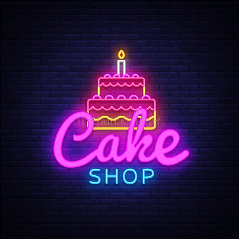 蛋糕商店霓虹灯广告传染媒介 甜点购物设计模板霓虹灯广告,轻的横幅,霓虹牌,每夜明亮 向量例证