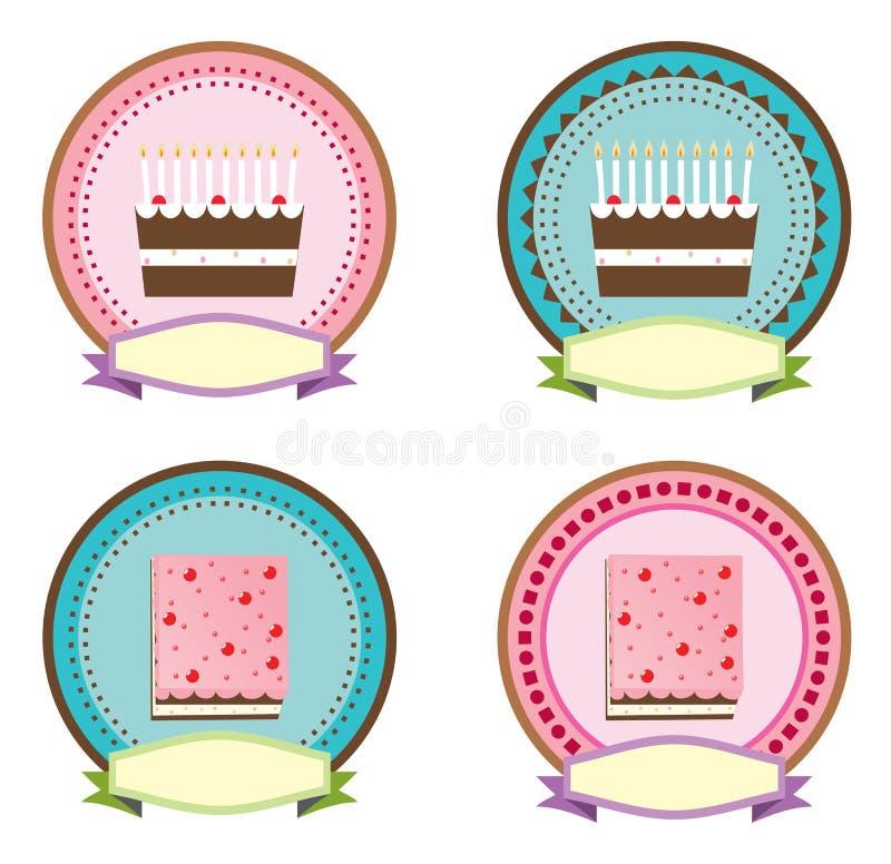 蛋糕商标和贴纸传染媒介设计 向量例证