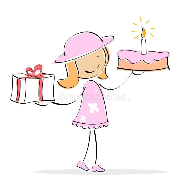 蛋糕女孩存在向量 库存例证