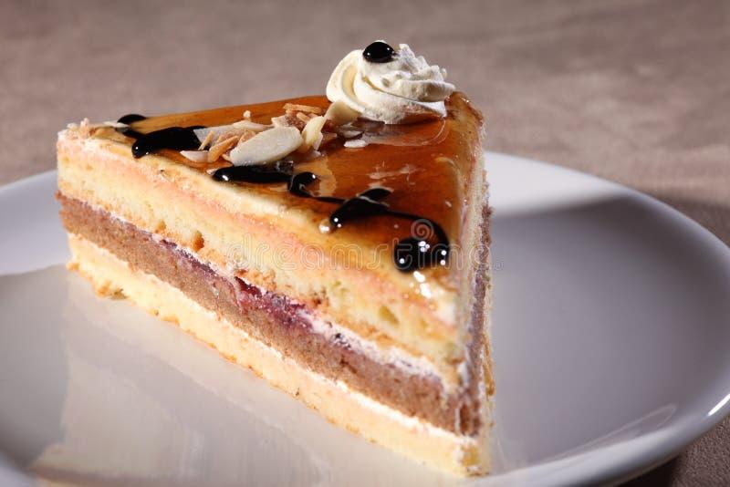 蛋糕巧克力咖啡奶油片式糖浆 免版税库存图片