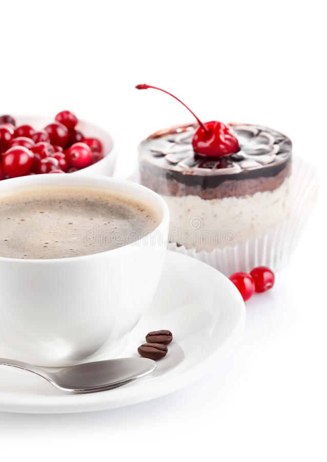蛋糕巧克力咖啡 免版税库存照片