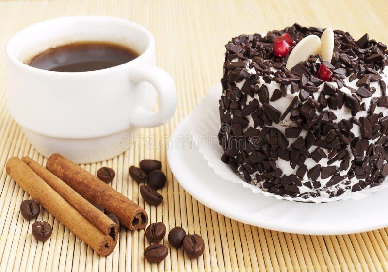 蛋糕巧克力咖啡 免版税图库摄影