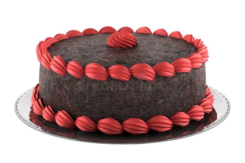 蛋糕巧克力奶油查出的桃红色白色 皇族释放例证