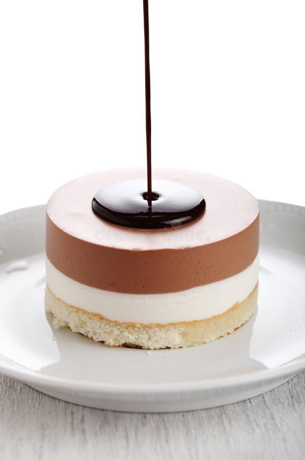 蛋糕巧克力流 免版税图库摄影