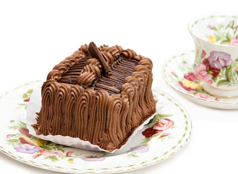 蛋糕巧克力茶 免版税库存照片