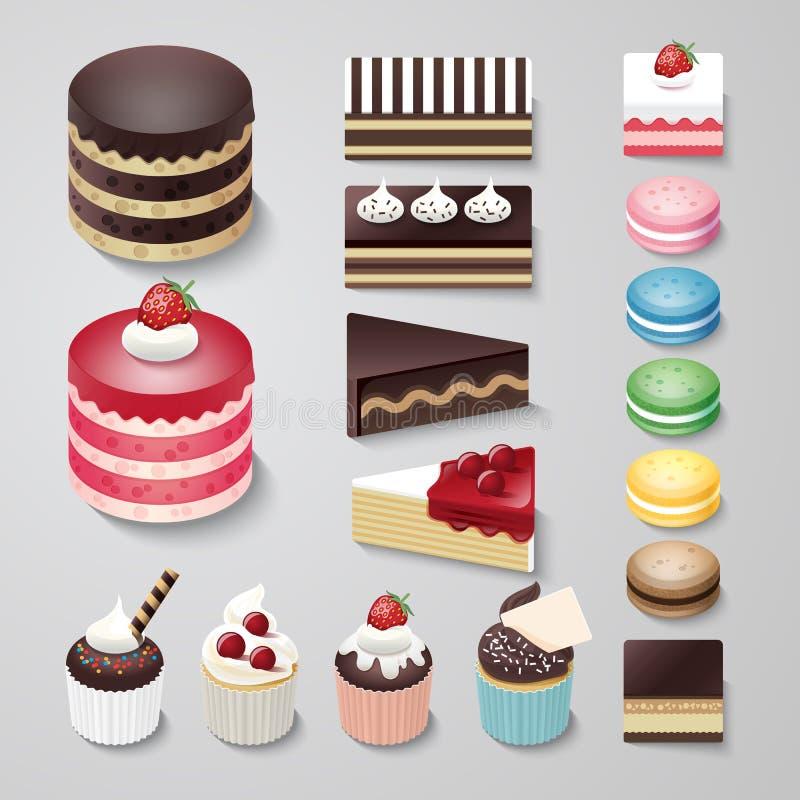 蛋糕平的设计点心面包店传染媒介集合 皇族释放例证