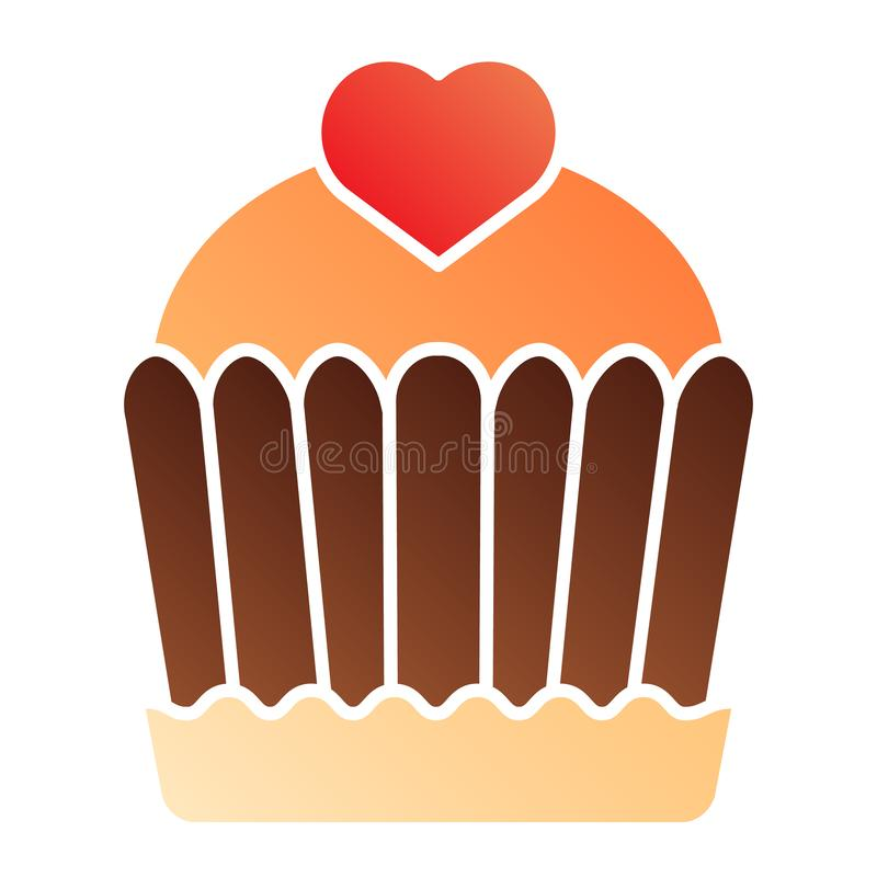 蛋糕平的象 杯形蛋糕在时髦平的样式的颜色象 可口梯度样式设计,设计为网和应用程序 EPS 库存例证