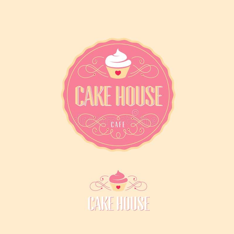 蛋糕房子商标 烘烤和面包店象征 与蛋糕和信件的桃红色徽章 库存例证