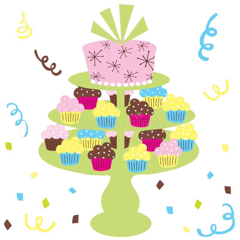 蛋糕杯形蛋糕婚礼 皇族释放例证
