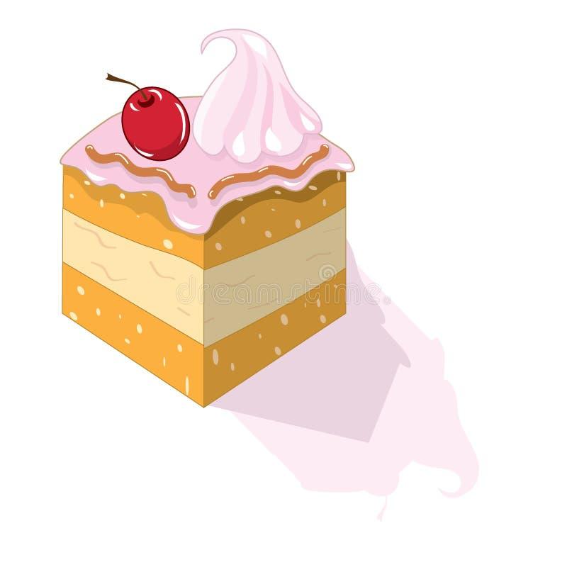 蛋糕樱桃片 库存例证