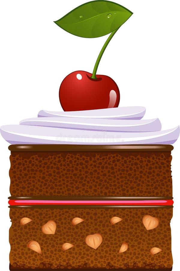 蛋糕樱桃被鞭打的巧克力奶油 库存例证