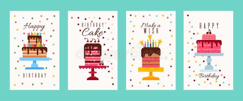蛋糕生日横幅或生日请帖传染媒介例证 愉快的生日 做愿望 面包店的飞行物 皇族释放例证