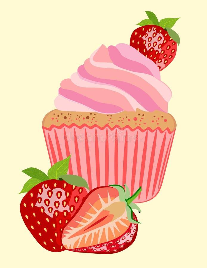 蛋糕用草莓 向量例证