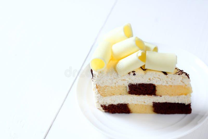 蛋糕白色chocolat 图库摄影