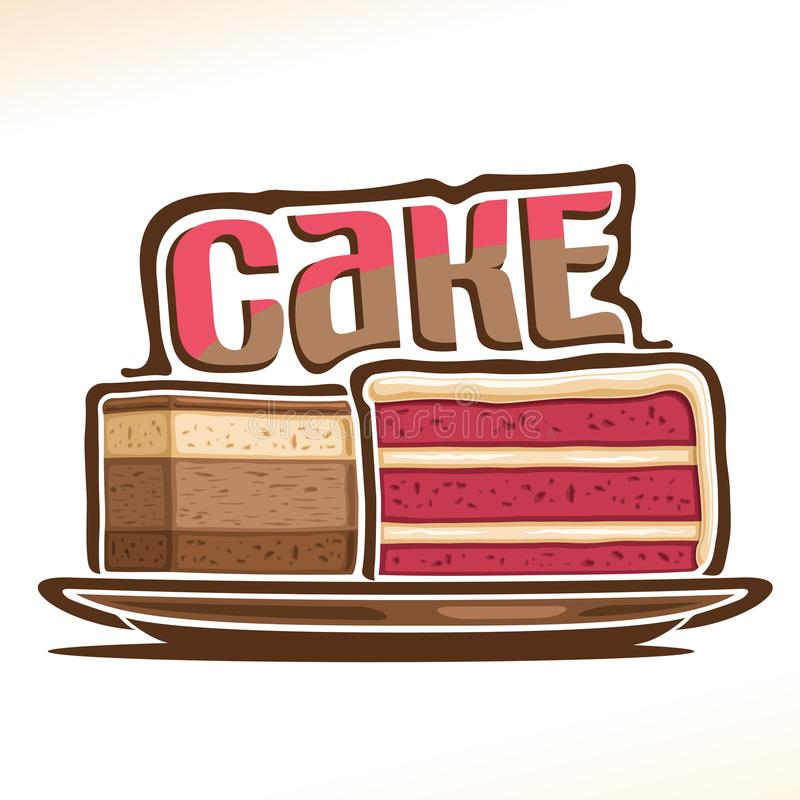 蛋糕的传染媒介商标 库存例证