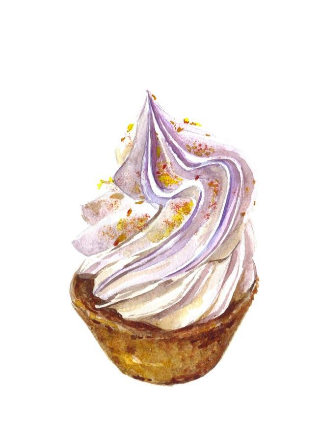 蛋糕的水彩例证用在白色背景的乳蛋糕 向量例证