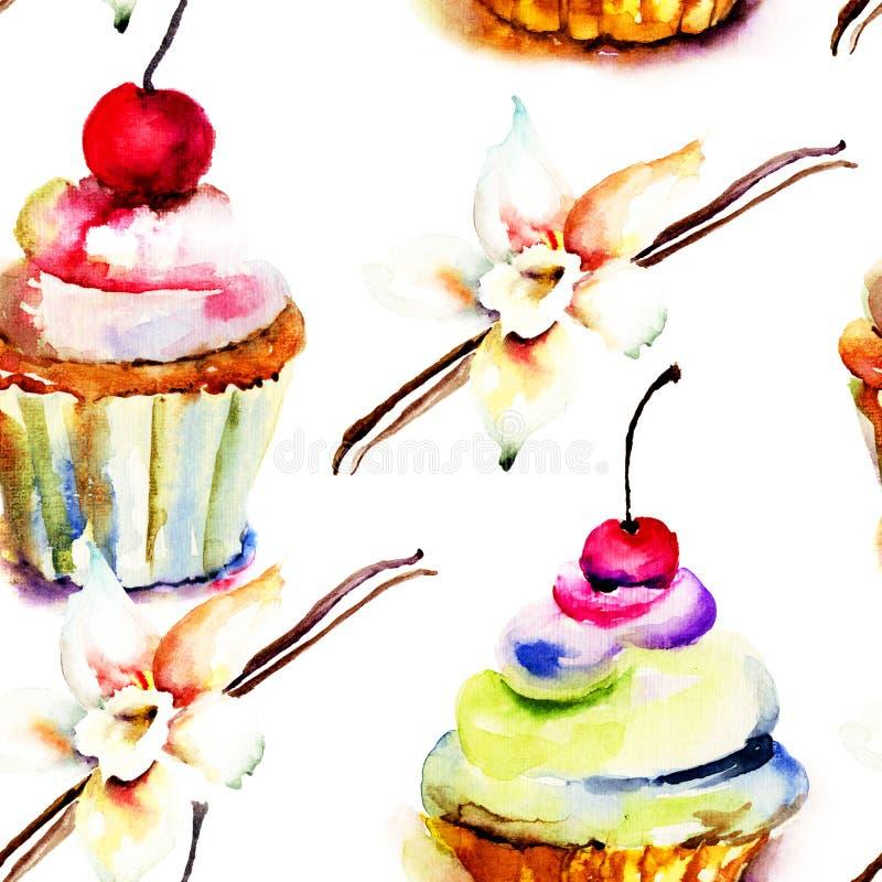 蛋糕的水彩例证 库存例证