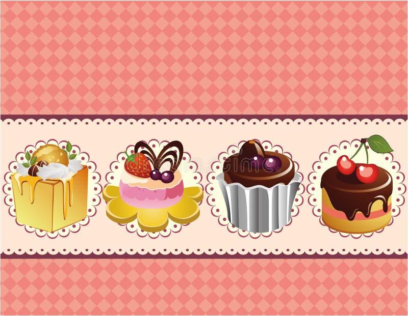蛋糕看板卡动画片 库存例证