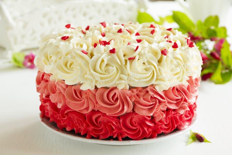 蛋糕红色天鹅绒 图库摄影