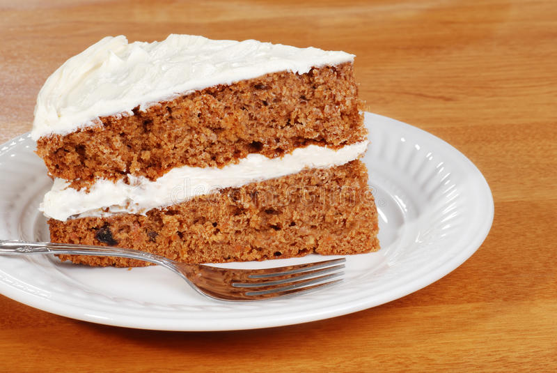 蛋糕红萝卜叉子 库存图片