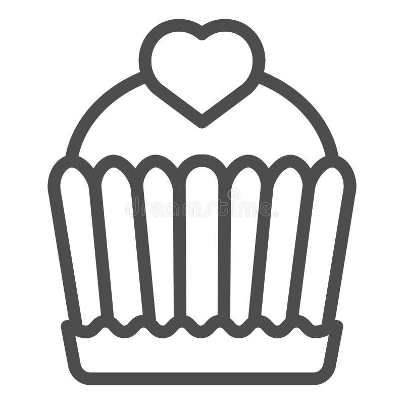 蛋糕线象 杯形蛋糕在白色隔绝的传染媒介例证 可口概述样式设计,设计为网和应用程序 库存例证