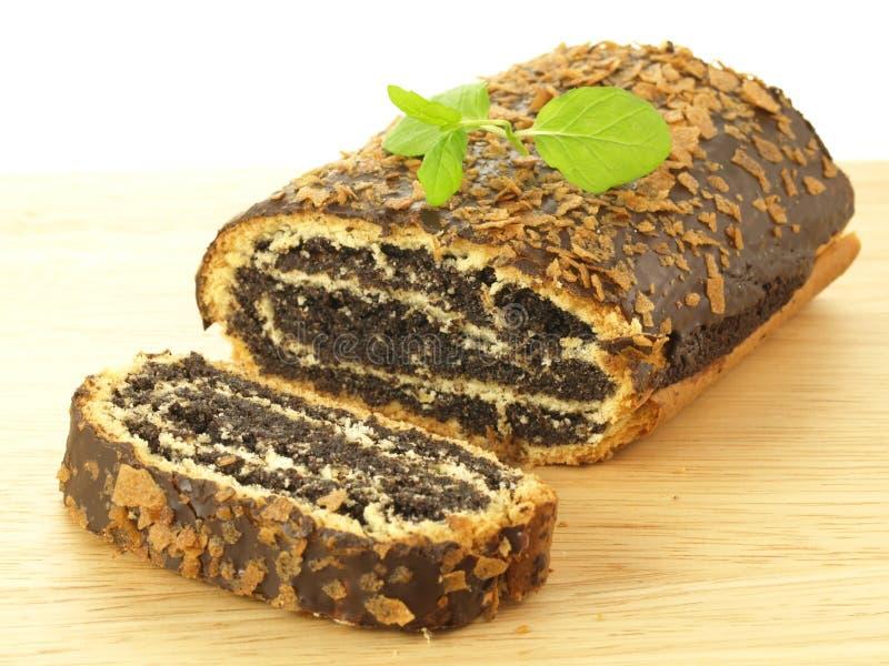 蛋糕罂粟种子片式 库存照片