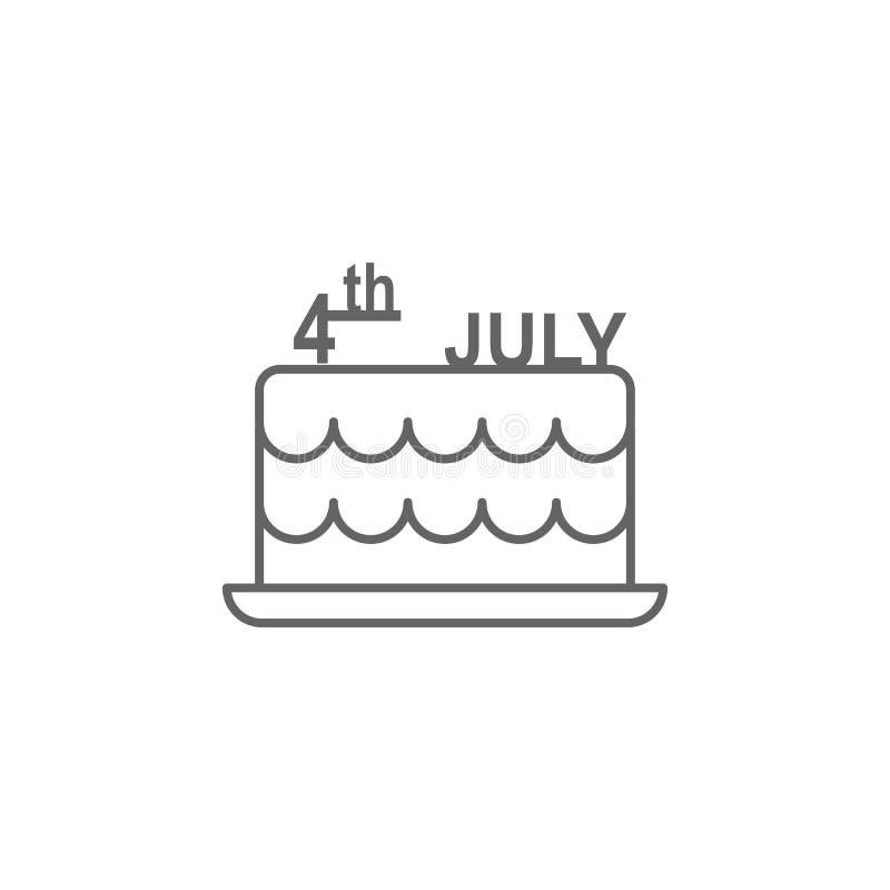 蛋糕美国7月4日概述象 E 向量例证