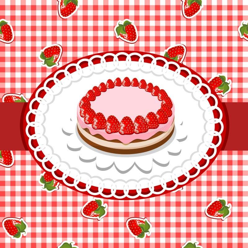 蛋糕草莓 库存例证