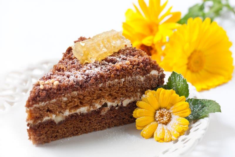蛋糕蜂蜜 免版税库存照片