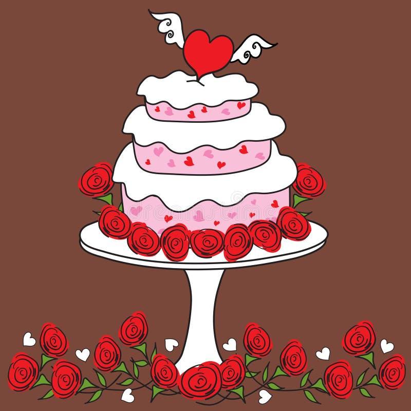 蛋糕质朴的重点华伦泰 库存例证