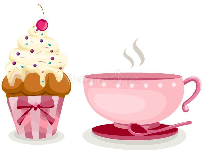 蛋糕逗人喜爱的咖啡杯 皇族释放例证