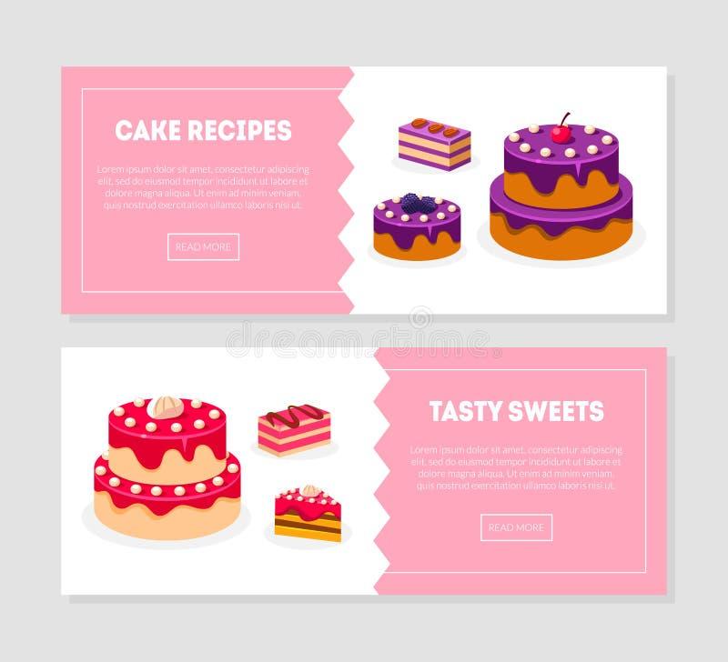 蛋糕食谱,鲜美甜点横幅模板设置用可口点心,面包店,糖果店,饼店,咖啡馆设计 库存例证