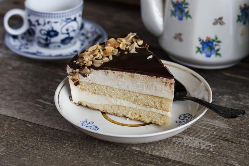 蛋糕鸟的牛奶用巧克力和椰子 图库摄影