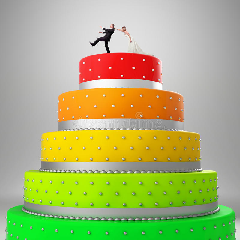 蛋糕滑稽的婚礼 库存例证