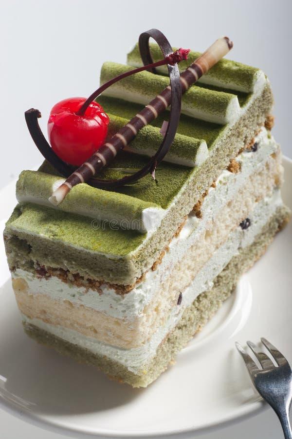 蛋糕绿色日本matcha茶 免版税图库摄影