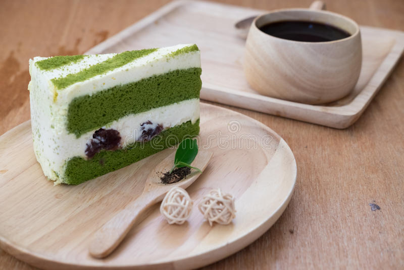 蛋糕绿色日本matcha茶 免版税库存照片
